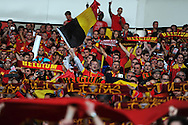 A large contingent of Belgium fans show their support. World cup 2014 qualifying match, Group A, Wales v Belgium at the Cardiff city stadium in Cardiff, South Wales on Friday 7th Sept 2012.  pic by  Andrew Orchard, Andrew Orchard sports photography,