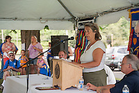 Pool Director Sandy Lazerick talks about the swimming lessons and services offered to the children during the 70th Anniversary celebration of the Kiwanis Pool in St. Johnsbury Vermont.  Karen Bobotas / for Kiwanis International