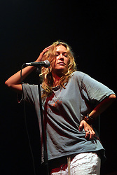 Cerys Matthews of Catatonia, on stage at T in the Park 2001, Balado, Fife, on 7/7/2001..© Michael Schofield..