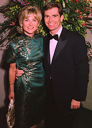 TV presenter ANTHEA TURNER and her close friend MR GRANT BOVEY, at a dinner in London on 25th February 1998.MFR 29