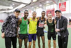 Bruce LeHane Invitational Mile<br /> Yomif Kejelcha, Ethiopia, Nike Oregon Project, breaks world record indoor mile 3:47.01<br /> Pacers including Abda, Harrison, Sowinski, and coach Alberto Salazar
