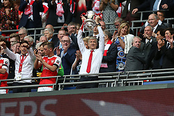 FILE PHOTO: Arsene Wenger is to leave Arsenal at the end of the season, ending a near 22-year reign as manager<br /><br />Arsenal's manager Arsene Wenger celebrate winning the FA Cup against Chelsea during the FA Cup Final match at Wembley Stadium ... Arsenal v Chelsea - Emirates FA Cup - Final - Wembley Stadium ... 27-05-2017 ... London ... UK ... Photo credit should read: Barrington Coombs/EMPICS Sport. Unique Reference No. 31480226 ...
