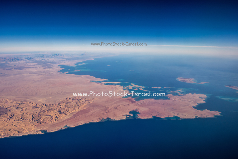 Aerial view of Saudi Arabia from the gulf of Aqaba Red Sea