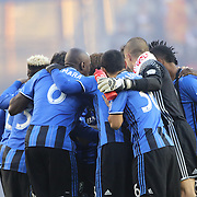 HARRISON, NEW JERSEY- November 06:  The Montreal team embrace before the start of the New York Red Bulls Vs Montreal Impact MLS playoff match at Red Bull Arena, Harrison, New Jersey on November 06, 2016 in Harrison, New Jersey. (Photo by Tim Clayton/Corbis via Getty Images)