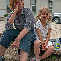 Dr. Kim Marquis and her daughter Kira relax in Virginia City, Montana.