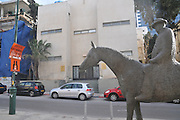 Israel, Tel Aviv, Rothschild Boulevard Statue of Meir Dizengoff first mayor of Tel Aviv on his horse