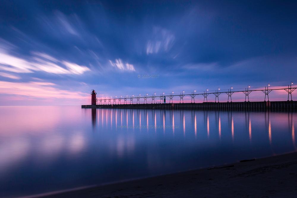 A long exposure of Lake Michigan at South Haven.