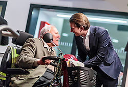 25.02.2018, Innsbruck, AUT, Landtagswahl in Tirol 2018, im Bild Bundeskanzler Sebastian Kurz (OeVP) mit einem Rentner im Seniorenmobil // Federal Chancellor Sebastian Kurz (OeVP) during first Statements for the State election in Tyrol 2018. Innsbruck, Austria on 2018/02/25. EXPA Pictures © 2018, PhotoCredit: EXPA/ JFK