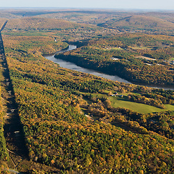 Power lines cut a swath through the forest next to the Connecticut River in Gill, Massahcusetts.