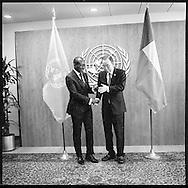President of Benin Patrice Athanase Guillaume Talon,with United Nations Secretary General Ban Ki moon.