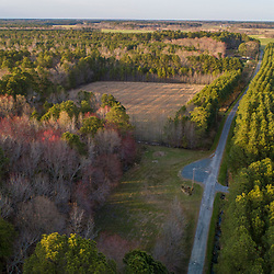 Drone view of fields and forest in Church Creek, Maryland.