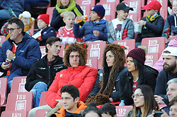 19 May 2018, Johannesburg. Emirates Airlines Park, Ellis Park. Two people wear furry hats at the game, brave the cold.<br />Gauteng Emirates Lions vs Canberra Brumbies. Picture: Karen Sandison/African News Agency (ANA)