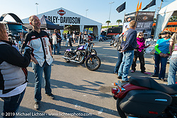 Paul James at the Harley-Davidson display by the Speedway before the Women's MDA Ride left<br /> for Destination Daytona during Daytona Bike Week. FL, USA. March 11, 2014.  Photography ©2014 Michael Lichter.