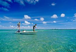 flats fishing for bonefish, Albula vulpes, Stiltsville, Biscayne National Park, Florida, USA, Atlantic Ocean, MR 020511-CH, 020512-BW