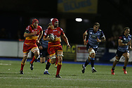 Cory Hill, the Dragons captain makes a break. . Guinness Pro14 rugby match, Cardiff Blues v Dragons at the Cardiff Arms Park in Cardiff, South Wales on Friday 6th October 2017.<br /> pic by Andrew Orchard, Andrew Orchard sports photography.