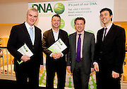 """Sean O Fiachain, Accounting and Taxation services Knocknacarra, Timothy McSweeney, Venture Advancement, Syl Cotter, DNA IT Solutions  and Brian Duffy President CIMA at the CIMA """"Cloud computing and your business """"    seminar in Hotel Meyrick Galway. Photo:Andrew Downes"""