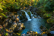 Sawmill Falls and swimming pool along Little Santiam River in Oregon's Opal Creek Scenic Recreation Area.