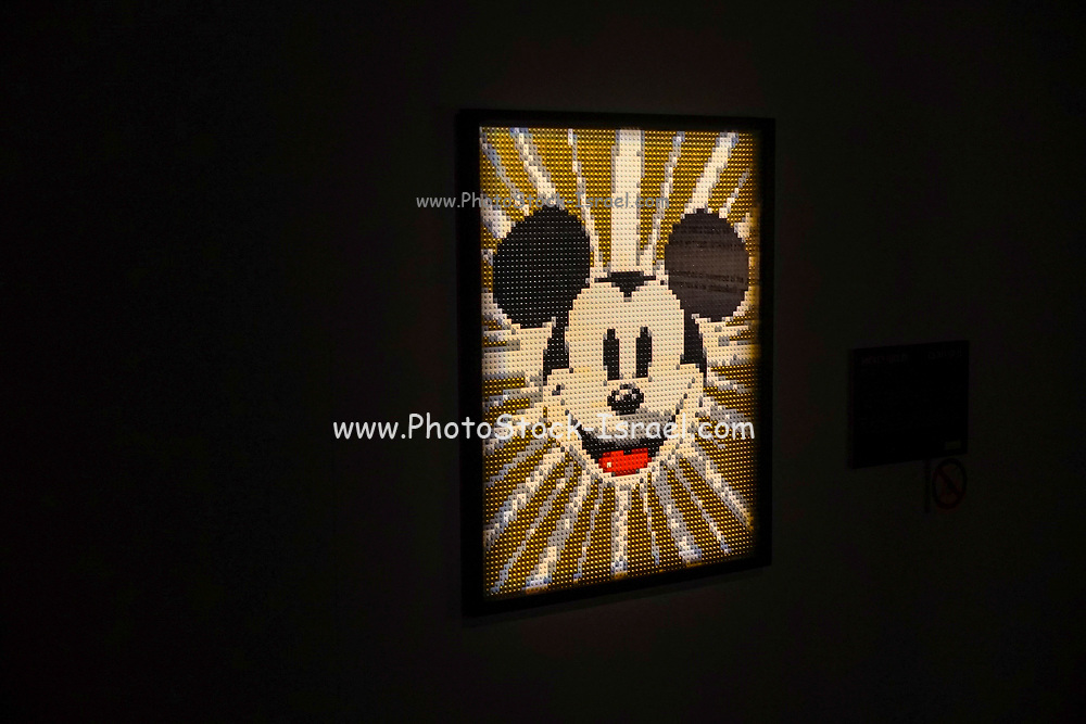Portrait of Mickey Mouse from Lego building blocks at the Holon Children's museum. Holon, Israel