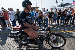 Doug Feinsod of California riding his 1913 Thor leaves the start of the Motorcycle Cannonball Race of the Century. Stage-1 from Atlantic City, NJ to York, PA. USA. Saturday September 10, 2016. Photography ©2016 Michael Lichter.