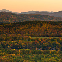 View of hills from West Rattlesnake Mountain in Holderness, New Hampshire. Fall.