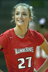 30 September 2006: Redbird Katie Seyller. .The Drake Bulldogs opened the match with a decisive win in the 1st game, but struggled in the next 3.  The Illinois State Redbirds took the match 3 games to 1.The match took place at Redbird Arena on the campus of Illinois State University in Normal Illinois.
