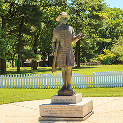 Morrisville, PA, USA - June 23, 2012: A statue of William Penn at Pennsbury, his country residence.