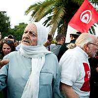 Tunis, Tunisia 25 October 2011<br /> Tunisians demonstrate against possible fraud during the elections.<br /> The elections for a Constituent Assembly was held in Tunisia on 23 October 2011, following the Tunisian Revolution.<br /> Photo: Ezequiel Scagnetti