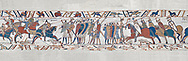 Bayeux Tapestry scene 51c:  The Norman cavalry charge the Saxon foot solders. BYX51c .<br /> <br /> If you prefer you can also buy from our ALAMY PHOTO LIBRARY  Collection visit : https://www.alamy.com/portfolio/paul-williams-funkystock/bayeux-tapestry-medieval-art.html  if you know the scene number you want enter BXY followed bt the scene no into the SEARCH WITHIN GALLERY box  i.e BYX 22 for scene 22)<br /> <br />  Visit our MEDIEVAL ART PHOTO COLLECTIONS for more   photos  to download or buy as prints https://funkystock.photoshelter.com/gallery-collection/Medieval-Middle-Ages-Art-Artefacts-Antiquities-Pictures-Images-of/C0000YpKXiAHnG2k