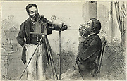 Theo Stein photographing a patient's larynx, 1874.