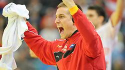 30.10.2010, Arena Nova, Wiener Neustadt, AUT, Euro Handball 2012 Qualifier, Austria vs Iceland, im Bild BAUER Thomas, GK, AUT, Jubel, EXPA Pictures 2010, PhotoCredit: EXPA/ S. Trimmel