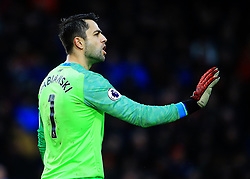 West Ham's Goalkeeper Lukasz Fabianksi shouts out instruction to his back four during the Premier League match at the Vitality Stadium, Bournemouth.