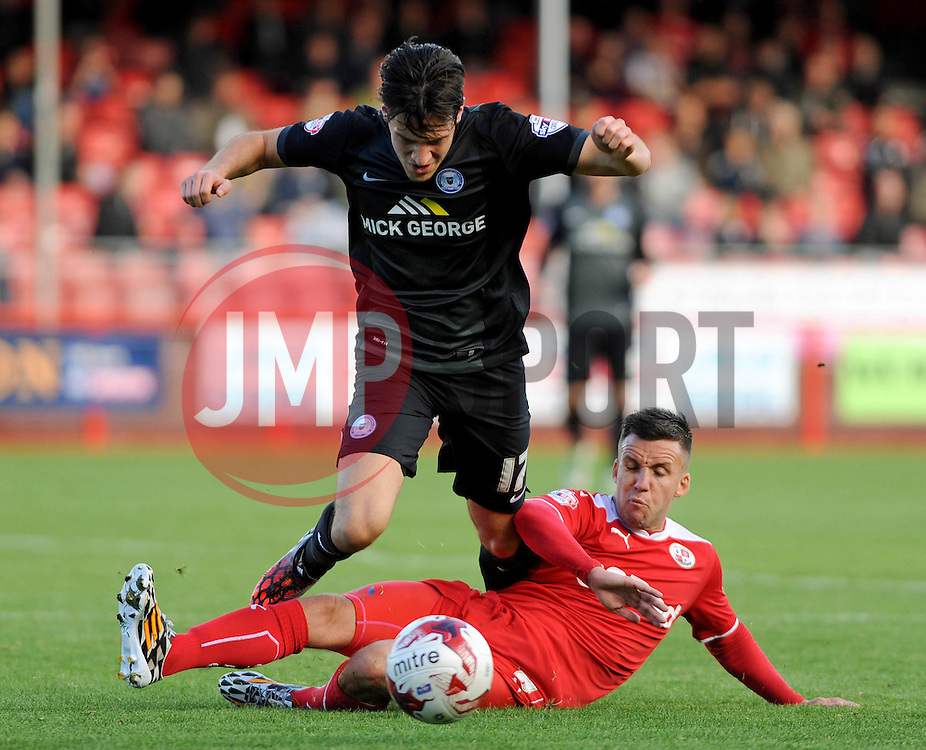 Peterborough United's Joe Newell fouled by Crawley's Jimmy Smith - photo mandatory by-line David Purday JMP- Tel: Mobile 07966 386802 - 11/10/14 - Crawley Town v Peterbourgh United - SPORT - FOOTBALL - Sky Bet Leauge 1  - London - Checkatrade.com Stadium
