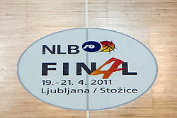 NLB Final 4 sing in the middle of court during final match of Basketball NLB League at Final Four tournament between KK Union Olimpija (SLO) and Partizan Belgrade (SRB), on April 21, 2011 at SRC Stozice, Ljubljana, Slovenia. (Photo By Matic Klansek Velej / Sportida.com)