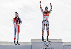17.02.2018, Jeongseon Alpine Centre, Jeongseon, KOR, PyeongChang 2018, Super G, Damen, Siegerpräsentation, im Bild v.l. Anna Veith (AUT, 2. Platz), Ester Ledecka (CZE, 1. Platz) // f.l. silver medalist Anna Veith of Austria gold medalist and Olympic champion Ester Ledecka of Czech Republic during the winner presentation for the ladie's SuperG of the Pyeongchang 2018 Winter Olympic Games at the Jeongseon Alpine Centre in Jeongseon, South Korea on 2018/02/17. EXPA Pictures © 2018, PhotoCredit: EXPA/ Johann Groder