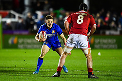 Steve Varney of Italy in action <br /> <br /> Photographer Craig Thomas/Replay Images<br /> <br /> U20 Six Nations - Wales v Italy  - Friday 31st January 2020 - Stadiwm Zip World (Parc Eirias) - Colwyn Bay<br /> <br /> World Copyright © Replay Images . All rights reserved. info@replayimages.co.uk - http://replayimages.co.uk