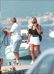 File photo of Lady Diana, Princess of Wales, with boyfriend Dodi Al Fayed spending their summer holiday in Saint-Tropez, south of France, on August 22, 1997. Princess Diana died on August 31, 1997 after suffering fatal injures in a car crash in the Pont de l'Alma road tunnel in Paris. Her companion Dodi Fayed and driver and security guard Henri Paul were also killed in the crash. Photo by ABACAPRESS.COM