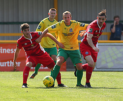 August 28, 2017 - London, United Kingdom - L-R Rob Evans of Billericay Town Ronnie Winn of Thurrock FC and Dan Waldren of Billericay Town.during Bostik League Premier Division match between Thurrock vs Billericay Town at  Ship Lane Ground, Aveley on 28 August 2017  (Credit Image: © Kieran Galvin/NurPhoto via ZUMA Press)