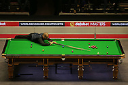 Barry Hawkins (Eng) in action. Barry Hawkins (Eng) v Mark Selby (Eng) , Quarter-Final match at the Dafabet Masters Snooker 2017, at Alexandra Palace in London on Friday 20th January 2017.<br /> pic by John Patrick Fletcher, Andrew Orchard sports photography.