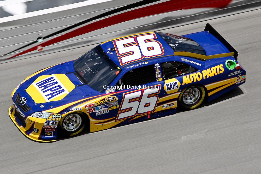 April 16, 2011; Talladega, AL, USA; NASCAR Sprint Cup Series driver Martin Truex Jr. (56) during qualifying for the Aarons 499 at Talladega Superspeedway.   Mandatory Credit: Derick E. Hingle