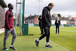 LIVERPOOL, ENGLAND - Monday, February 18, 2019: Liverpool's manager Jürgen Klopp and Sadio Mané of Liverpool during a training session at Melwood ahead of the UEFA Champions League Round of 16 1st Leg match between Liverpool FC and FC Bayern München. (Pic by Paul Greenwood/Propaganda)