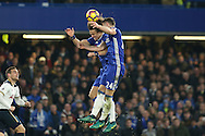 David Luiz of Chelsea collides into Gary Cahill of Chelsea. Premier league match, Chelsea v Tottenham Hotspur at Stamford Bridge in London on Saturday 26th November 2016.<br /> pic by John Patrick Fletcher, Andrew Orchard sports photography.