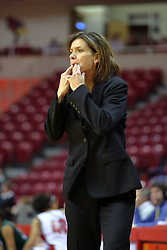 06 December 2008: Redbird Coach Robin Pingeton whistles to get the attention of her players during a game between the Eastern Michigan Eagles and the Illinois State Redbirds on Doug Collins Court inside Redbird Arena on the campus of Illinois State University, Normal Il.