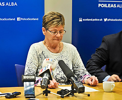 Pictured: Julie Reilly's mother Margaret Hanlon reads a family statement during the press conference.<br /> <br /> Police held a press conference to appeal for help in tracing missing Glasgow woman Julie Reilly, who went missing on 06 February 2018.<br /> <br /> © Dave Johnston / EEm