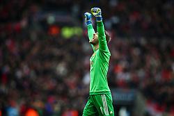 David De Gea of Manchester United celebrates. Goal, Anthony Martial of Manchester United scores, Everton 1-2 Manchester United - Mandatory byline: Jason Brown/JMP - 07966386802 - 23/04/2016 - FOOTBALL - Wembley Stadium - London, England - Everton v Manchester United - The Emirates FA Cup