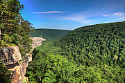 This famous place on the Whitaker's Point trail is the number 1 most photographed spot in Arkansas. A male hiker enjoys the view standing hundreds of feet above the Ozark mountains forest below.