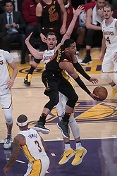 March 11, 2018 - Los Angeles, California, U.S - Jordan Clarkson #8 of the Cleveland Cavaliers goes for a layup during their NBA game with the Los Angeles Lakers on Sunday March 11, 2018 at the Staples Center in Los Angeles, California. Lakers defeat Cavaliers, 127-113. (Credit Image: © Prensa Internacional via ZUMA Wire)