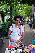 Melanesian Woman selling crafts, Viti Levu, Fiji, Melanesia, South Pacific