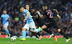 Sergio Aguero of Manchester City attacks - Mandatory byline: Matt McNulty/JMP - 07966386802 - 12/04/2016 - FOOTBALL - Etihad Stadium -Manchester,England - Manchester City v Paris Saint-Germain - UEFA Champions League - Quarter Final Second Leg