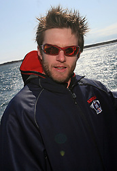 Dejan Varl of Slovenian National Ice-hockey Team at whale watching boat, during IIHF WC 2008 in Halifax, on May 07, 2008, sea at Halifax, Nova Scotia,Canada.(Photo by Vid Ponikvar / Sportal Images)
