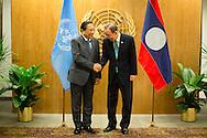 Choummaly Sayasone, the President of Lao People's Demmocratic Republic,with United Nations Secretary General Ban Ki moon.